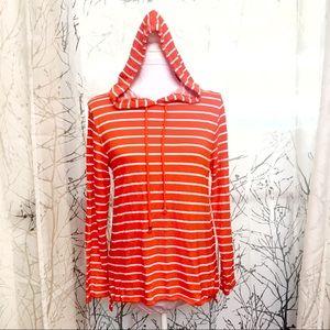 Michael Kors orange white striped hoodie sweater